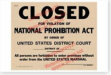 Speakeasy Closed For Violation Of National Prohibition Act Retro Poster