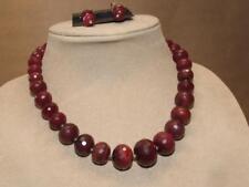 Quartz Necklace & Pierced Earrings Set Artisan Kate Egan Sterling Silver & Ruby
