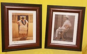 """Pair Of  Printed Photos Signed Edition By Luis Coral 13"""" Tall"""