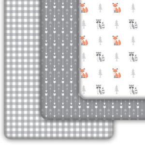 Pack N Play Sheets 3-Pack | Mini Crib Sheets Set for Playard Mattress | Woodland