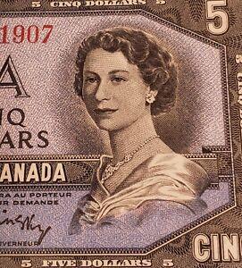 Two of 1954 Canada $5 Banknotes. CONSECUTIVE & VERY HIGH GRADE.