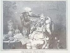 1940s James Gillray 1801 Caricature METALLIC TRACTORS etching PRINT Rare vtg