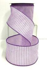 """Linen Buffalo Check Wired Ribbon~Lavender, White~2 1/2""""W x 10 yd"""