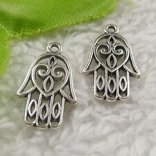 free ship 150 pcs tibet silver hand charms 21x13x2mm #4400
