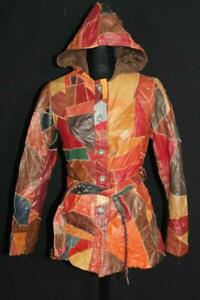 CLASSIC VINTAGE 1960'S-1970'S WOMAN'S PATCH LEATHER HOODED JACKET SIZE SMALL