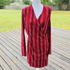 NORMA KAMALI Size Medium Stretch V Neck Faux Wrap Red Geometric Pattern Dress