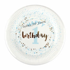 1ST BIRTHDAY PARTY PAPER PLATES SMALL DESSERT BLUE GOLD CONFETTI 12PK BOY FIRST