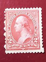 US SCOTT Cat #252 Unused NG 2c Pale Carmine Type III Stamp CV $125 FREE S&H Thin