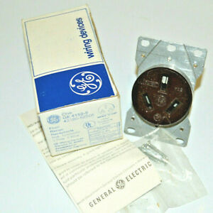 GE  4152-3 Flush Range Plug Receptacle 50A, 125/250V, 3-Pole, 3-Wire 43180-52505