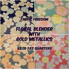 100% Craft Cotton - Blue Pink Gold Metallic Flowers & Florals - Fat Quarters
