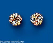 9ct Three Colour Gold Knot Stud Earrings 5mm
