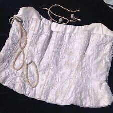 womens top size 14 wedding corset bustier ivory silk beaded pearl designer Vgc