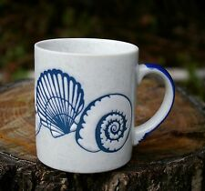 Blue Sea Shell Coffee Mug Cup Clam Sand Dollar Snail Ocean Beach