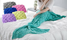 Adult Handmade Knitted Mermaid Kids Fish Tail Blanket Crochet Cocoon Sofa Quilt