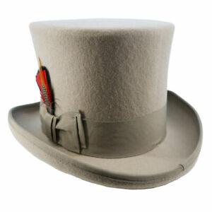 Authentic Top Hat 100% Wool Felt Victorian Renaissance Cosplay Anime Mens Womens