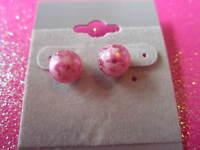 Pink Lace Stud Earrings