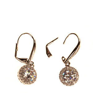 CZ BY KENNETH JAY LANE Drop Earrings Rhinestones Embellished Leverback Closure