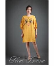 DRESS EMBROIDERED (MUSTARD)