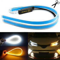 2x Car Auto LED White Amber Sequential DRL Turn Signal Strips 60cm Accessories
