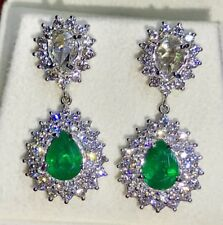 ROSE CUT! 4.86TCW Emerald Diamonds 18K solid white gold earrings natural Dangle