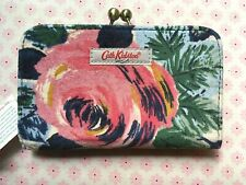 Cath Kidston velvet clasp purse wallet oxford rose navy floral NWT