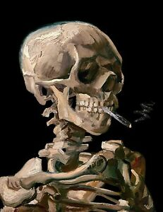 Van Gogh 1886, Skeleton with a Cigarette - Fade Resistant HD Art Print or Canvas