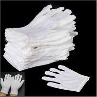 12 Paia Set Guanti In Cotone Bianco Leggero Per Camerieri Biologica Laboratorio
