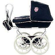 More details for hauck doll's classic navy pram with detachable carry cot