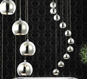 1.5m shortable XXL led hanging pendant lamp chandelier light spiral chrome Ø40cm