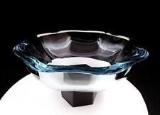 "STROMBERG T385 CRYSTAL SIGNED ICE BLUE OCTAGON SHAPED HEAVY THICK 11 1/4"" BOWL"