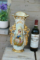 Antique French 19thc Vieux paris porcelain hand paint lady portrait vase