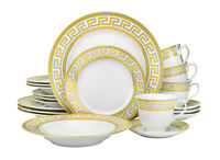20 Piece Athena Gold Greek Key Bone China Dinner Serving Dish Set for 4 - White