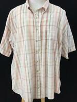 Van Heusen mens shirt size 2XL plaid short sleeve wrinkle free stain shield