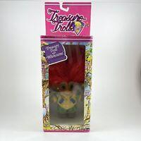 Vintage Ace Novelty Treasure Troll Wishstone Orange Hair New in Box Green Yellow