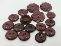 Vintage Plastic Maroon Buttons lot