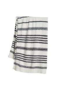 "NWT Barefoot Dreams CozyChic Multi-Stripe Throw Blanket 45""x 60"" Pearl Pacific"