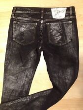 ED HARDY CHRISTIAN AUDIGIER BLACK SILVER METALLIC SKULL STRETCH JEANS PANTS 27