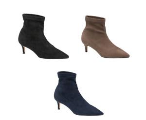 Ravel Madruga Imi Suede Pointed toe Low heel sock boot Black, Navy, Brown