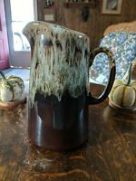"""Vintage Brown Drip Glaze Pottery Pitcher 9 1/2"""" x 4 inches. Very beautiful."""