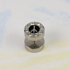 New - FAKE ILLUSION PLUG - PEACE SIGN LOGO AND CLEAR CRYSTAL TOP 10MM H265
