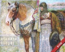 WOMAN CHRISTIAN KNIGHT IN ARMOR NEXT TO HER HORSE PAINTING REAL CANVASART PRINT