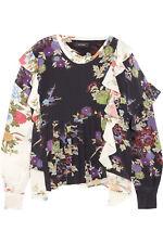 Isabel Marant Floral Printed Runway  Silk Crepe de Chine Wrap Blouse Top XL 42