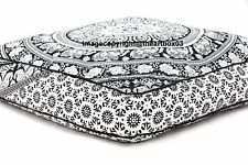 Elephant Mandala Indian Floor Pillow Cushion Cover Ottoman Pouffe Square Pet Bed