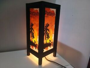 Wood Table Lamp Pattaya Art Vintage Style Handcraft Home Bedroom Decor Gift
