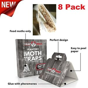 Pantry Moth Traps Safe Glue With Pheromones 8 Pack Effective Adhesive Non-Toxic
