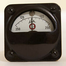 """Marion Electric 1 3/4"""" Vintage Square Microamps Panel Meter HS1 Black Steampunk"""