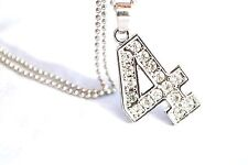 New Bling Rhinestone #  4 Pendant w Ball Chain Necklace US Seller