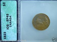 1923 Canada Cent- graded ICG EF- 45  Beautiful Coin