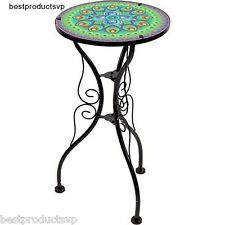 Metal Glass End Table Accent Side Round Outdoor Indoor Small Bistro Deck Display