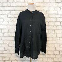 J.Jill Women's Black Longsleeve Button Front Tunic Shirt Size XL Extra Large